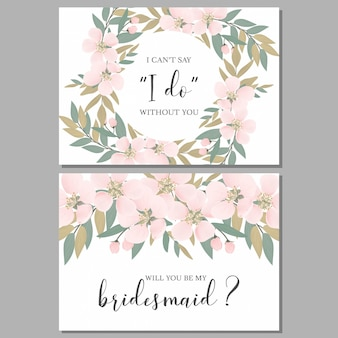 Bridesmaid greeting card template with sakura cherry blossom
