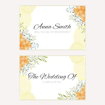 Bridesmaid greeting card with watercolor floral decoration