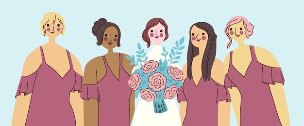 Bridesmaids in beautiful dresses illustrated