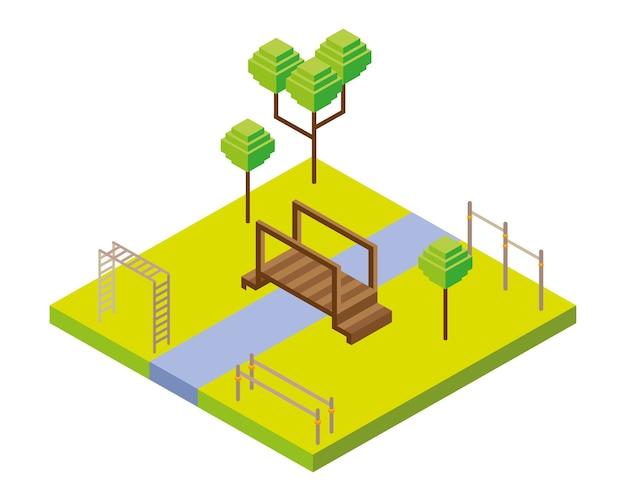 Мост и игровая площадка бары парк сцена изометрический стиль значок иллюстрации дизайн