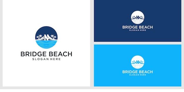 橋のビーチのロゴのデザインテンプレート Premiumベクター