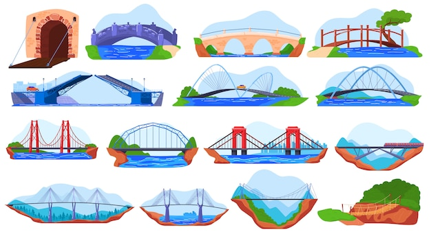 Bridge collection, set of different stickers  on white,  illustration