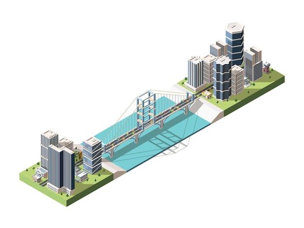 Мост, соединяющий две части города изометрии. транспортная инфраструктура. висячий мост автодороги через речной залив. городской пейзаж. пейзаж мегаполиса в 3d стиле