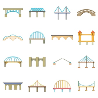 Bridge construction icons set
