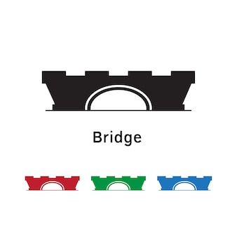 Bridge icon on white background with different color set.