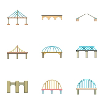 Bridge icons set, cartoon style