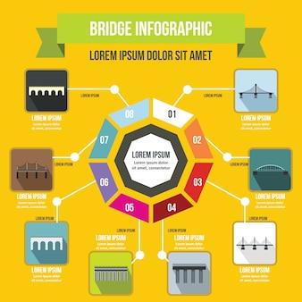 ブリッジインフォグラフィックテンプレート、フラットスタイル