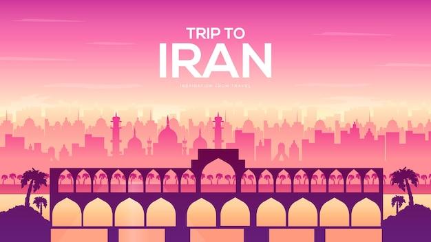 Bridge of iran card with pick landscape