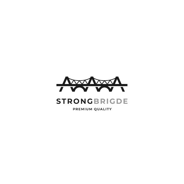 ミニマルなネガティブなデザインスタイルの橋のロゴコンセプト
