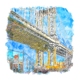 Bridge new york united states watercolor sketch hand drawn illustration