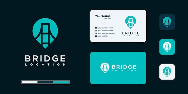 Bridge and pin logo combination with business card design