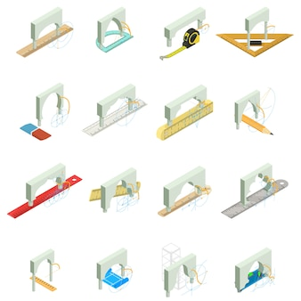 Bridge repair icon set