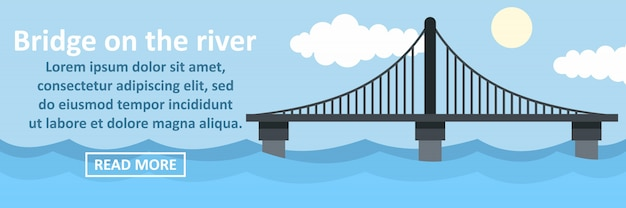 Bridge on the river banner horizontal concept