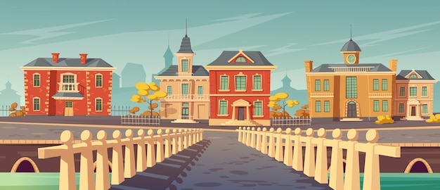 Bridge over rivet and promenade old european town Free Vector