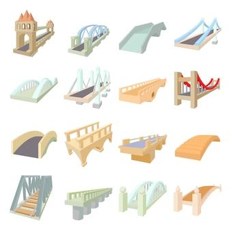 Мост набор иконок в мультяшном стиле, изолированные