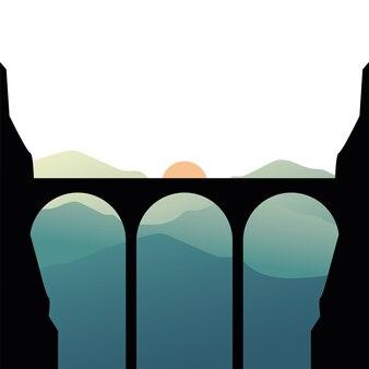 太陽の風景イラストと山の前の橋のシルエット
