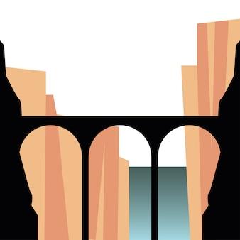 山の前の橋のシルエット風景イラスト