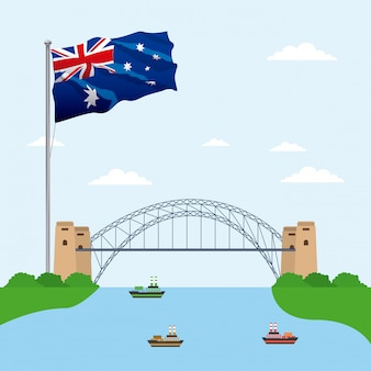 Bridge over water with the flag of australia