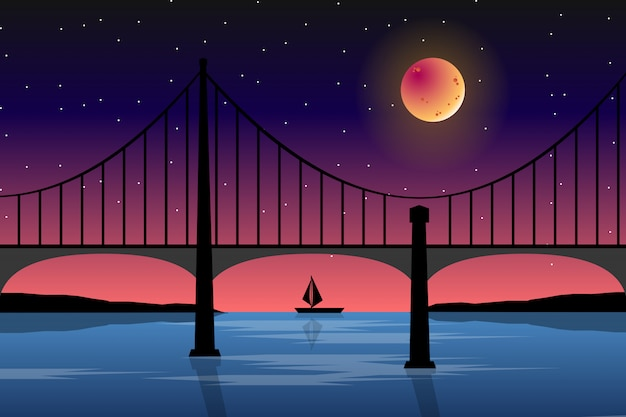 Bridge with full moon scenery landscape