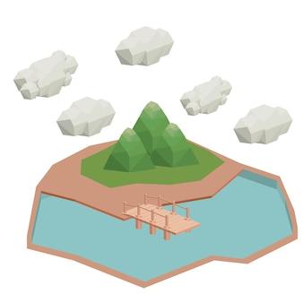 Bridge wood isometric  isolated icon design