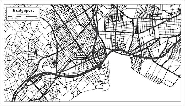 Карта города сша бриджпорт в стиле ретро. контурная карта. векторные иллюстрации.