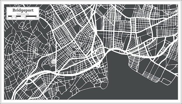 Bridgeport usa city map in retro style. outline map. vector illustration.