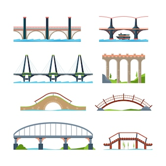 Мосты. архитектурные городские объекты мост с изображениями балок колонны или акведука
