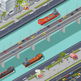 Bridges in city isometric composition