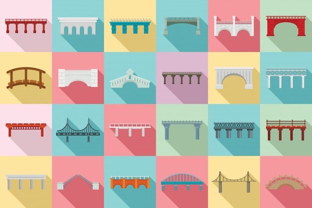 Bridges icons set, flat style
