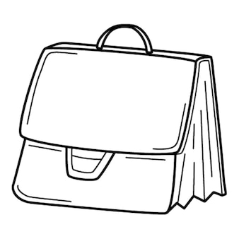 서류 가방, 비즈니스 외교관, 비즈니스 가방. 낙서. 손으로 그린 흑백 벡터 일러스트 레이 션.