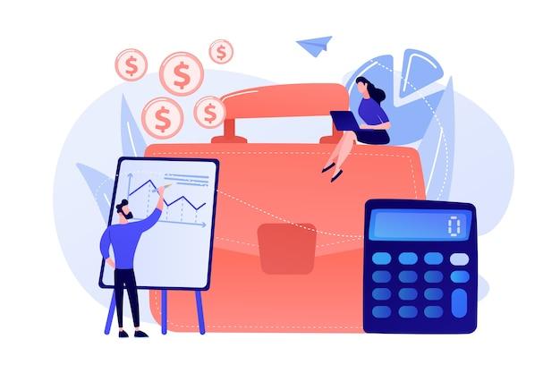 Портфель, калькулятор и бухгалтеры, работающие с графиками и ноутбуком. концепция бухгалтерского учета, финансового анализа и планирования на белом фоне.