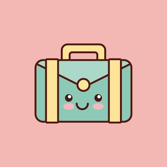 Briefcase character kawaii style