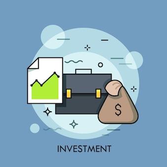 ブリーフケース、グラフとマネーバッグ付きのドキュメント。投資、銀行、証券取引所、市場取引、ブローカーサービスのコンセプト。