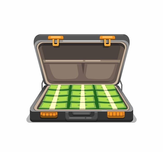 Briefcase full of cash money. symbol concept in cartoon illustration isolated in white