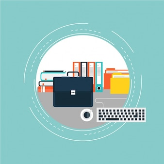 Briefcase next to a keyboard and books background