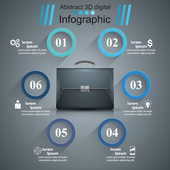 Briefcase, office - business abstract infographic