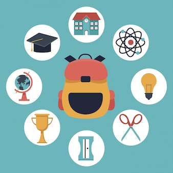 Briefcase school and elements academic in icons