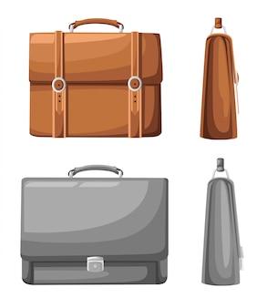 Briefcase, set of briefcase, bag, suitcase. flat design, illustration, vector. web site page and mobile app