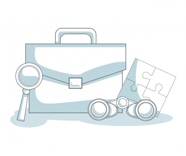 Briefcase with binoculars and magnifying glass