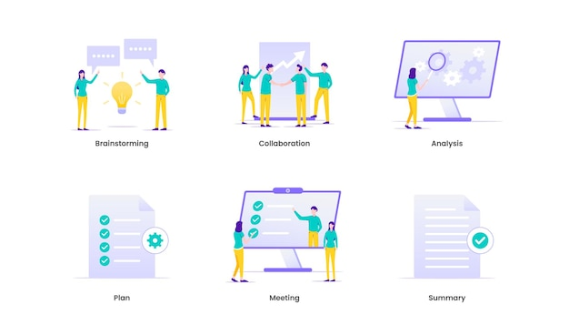 Briefing of business plan, collaboration, brainstorming, meeting, communication and planning. brief illustration.