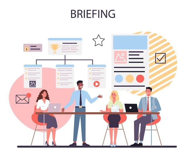 브리핑 개념. 비즈니스 회의 또는 프레젠테이션. 동료의 그룹 앞에서 프레젠테이션을 만드는 직원. 그래프를 가리키고 있습니다.