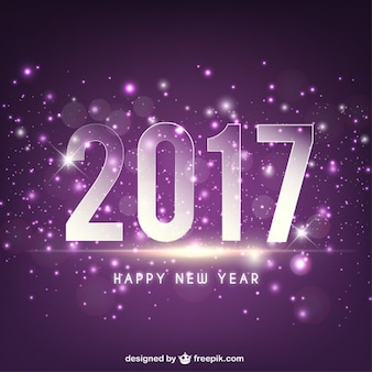 Bright 2017 on a purple background