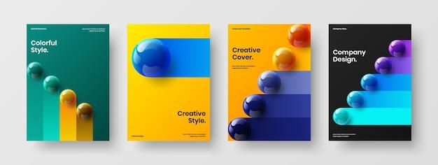 Набор шаблонов презентации яркие 3d шары