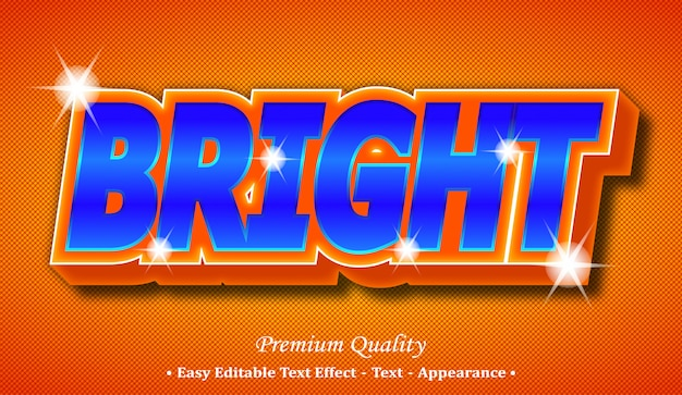 Bright 3d editable text style effect