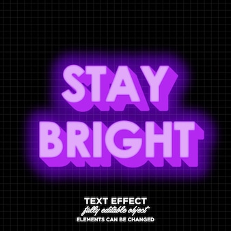 Bright 3d text effect
