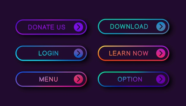Bright abstract buttons for web design