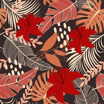 Bright abstract seamless pattern with colorful tropical leaves and flowers on brown