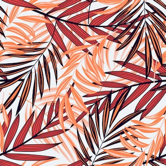 Bright abstract seamless pattern with colorful tropical leaves and plants on light