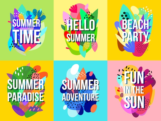 Bright abstract summer sale banners collection