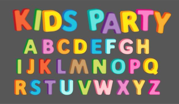 タイトルデザインのための3d効果を持つ明るいアルファベットのレタリングテキスト。大文字英語abc